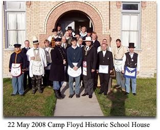 Members of Wasatch Lodge No. 1, 22 May 2008 at Camp Floyd State Park in front of the Historic School House
