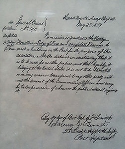 Special Order #140 authorizing constuction of the first Masonic Building in Utah Territory on the grounds of Camp Floyd