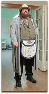 Worshipful Brother Josh Hemmert wearing civil war era civilian clothing with a Mike Moon Masonic Apron
