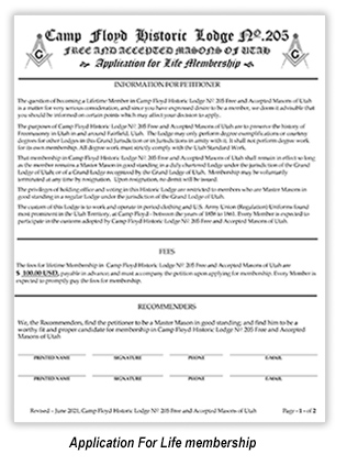 Petition for Life Membership Camp Floyd Historic Lodge No. 205
